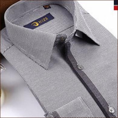 白灰色男式格子衬衫