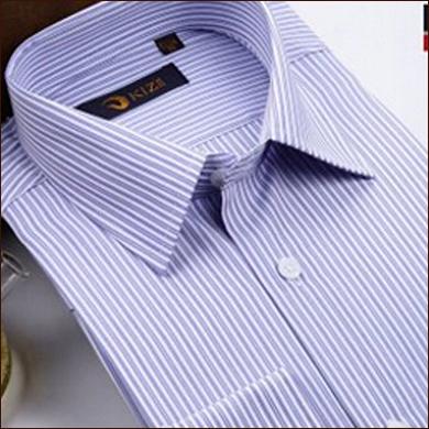 白色竖条纹男士衬衫