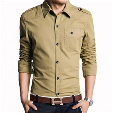 驼色男式衬衫