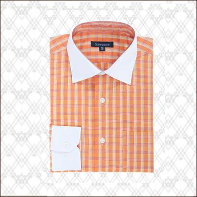 橙色男士格子衬衫