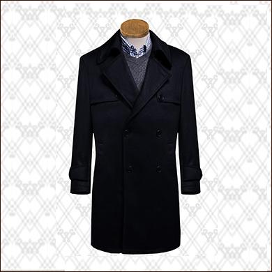 黑色商务长款男式大衣款