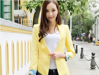 一粒扣黄色小西装