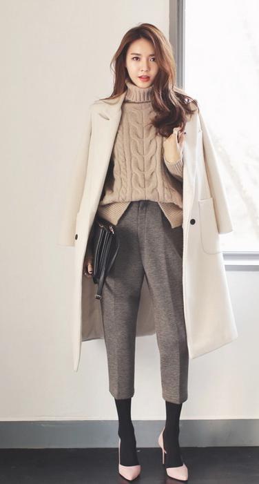 大衣、西裤加高跟