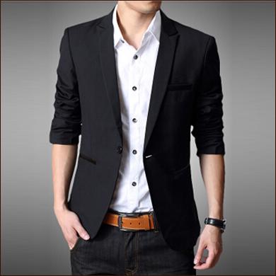黑色休闲款男士一粒扣西装款式图