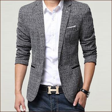 灰色休闲款男士一粒扣西装款式图片