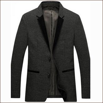 灰色二粒扣男士羊毛西装款式图