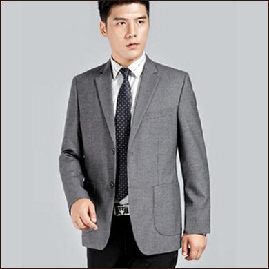 灰色男士二粒扣西装款式图