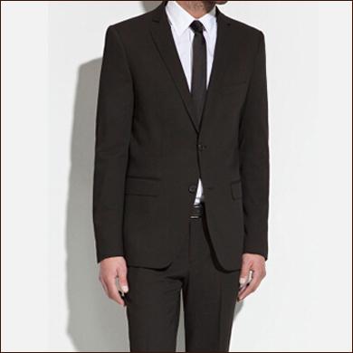 黑色男士修身款二粒扣西装款式图