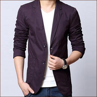 淡紫色男士休闲款式二粒扣西装