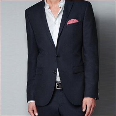 纯黑色男士修身款二粒扣西装款式图
