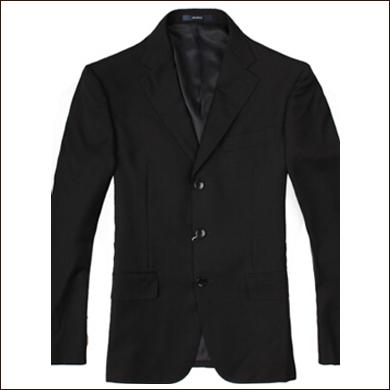 黑色修身男士三粒扣西装款式图