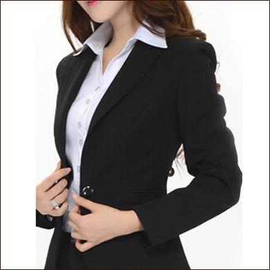 纯黑色女式一粒扣小西装