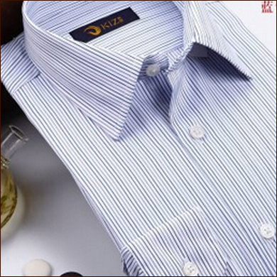 白色竖条纹男士衬衫款式图