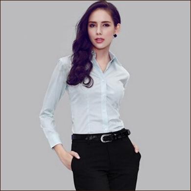 淡蓝色女式衬衫款式图