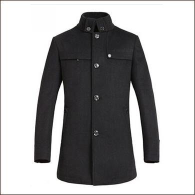 黑色休闲短款男士大衣款式图