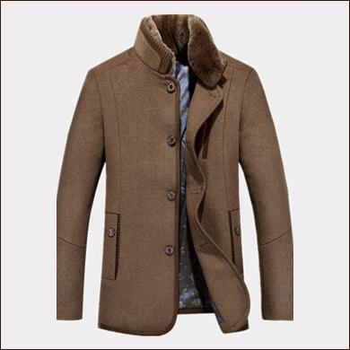 咖啡色休闲短款男士西装大衣款式