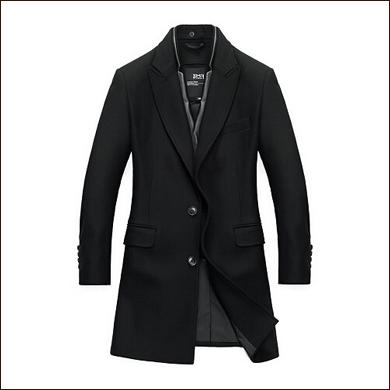 黑色休闲长款男士大衣款式图