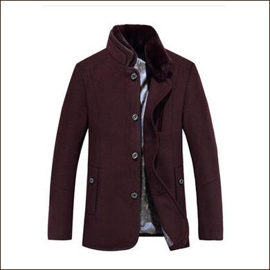 深红色休闲短款男士西装大衣款式