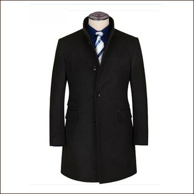 纯黑长款男士西装大衣