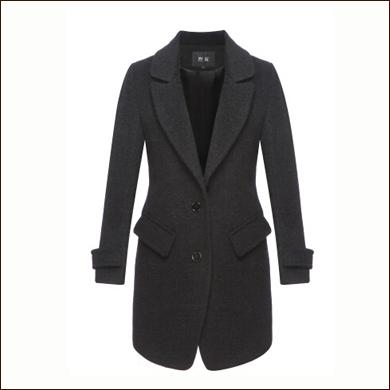 灰色女式长款西装大衣
