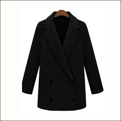 黑色长款女式毛呢大衣