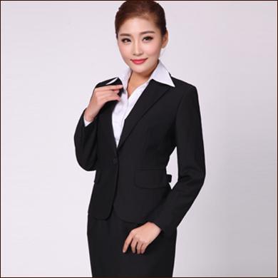 职业装款黑色女式一粒扣小西装