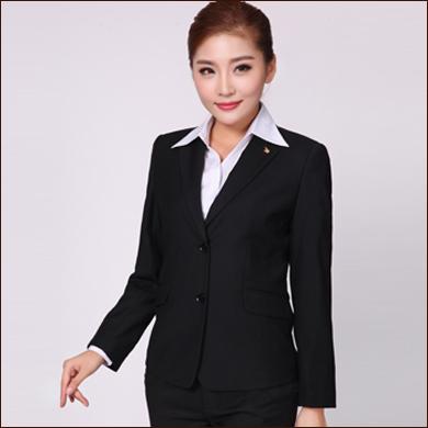 女式职业装款二粒扣黑色