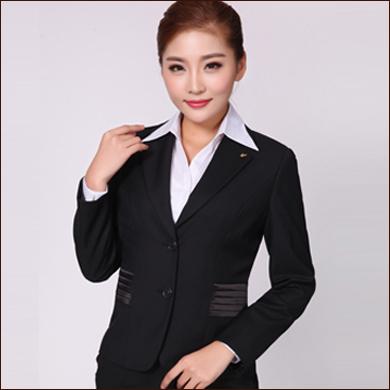 黑色收腰设计职业装款女式二粒扣