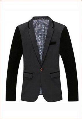 藏青色男式二粒单扣西装款式图片